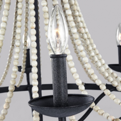 American Vintage Candle Hanging Lighting Metal and Wooden Beads 4 Lights Black Chandelier for Dining Room