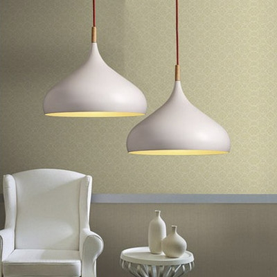 Living Room Onion Shade Hanging Lamp 1 Light Industrial White Pendant Lighting with Plug In Cord