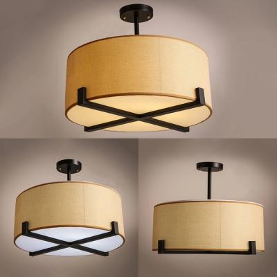 Japanese Style Beige Semi Flush Mount Light with Drum Shade 5 Lights Linen Ceiling Light for Living Room