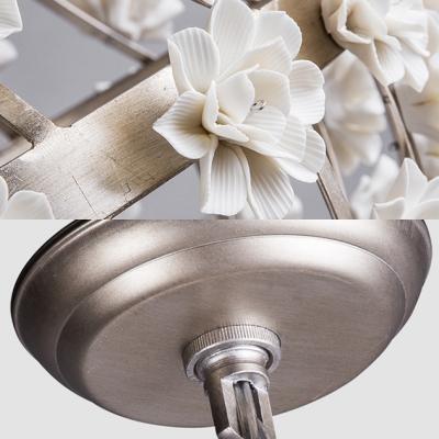 Living Room Globe Chandelier Lamp Metal Single Light Gold/Silver Pendant Light with Flower Decoration