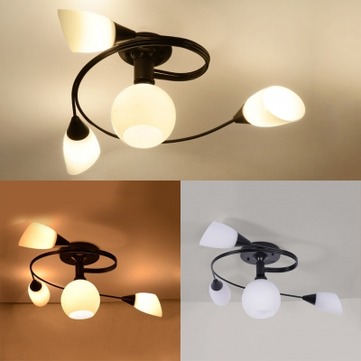 Metal Black Semi Flush Mount Light Dining Room 4/6 Lights Contemporary Light Fixture