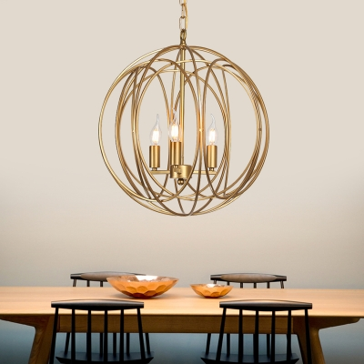 Metal Globe Shape Chandelier Living Room 1/3 Light American Rustic LED Pendant Lighting in Gold