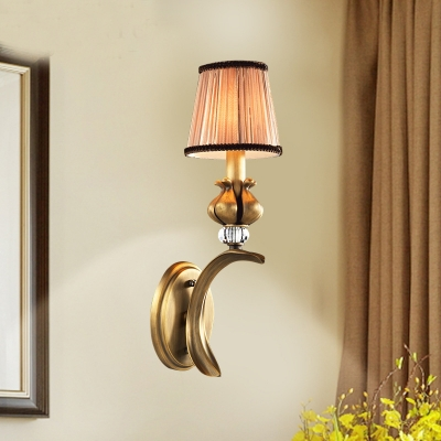 Metal Tapered Shade Sconce Light Rustic Style Wall Lamp with Crystal in Brass for Stair