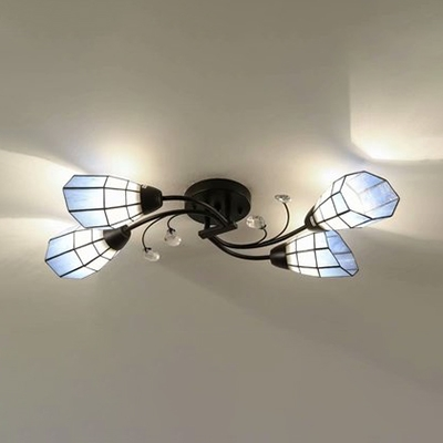 Metal Twist Arm Semi Flush Light with Crystal 4 Lights Rustic Ceiling Light in Beige/Blue for Bedroom