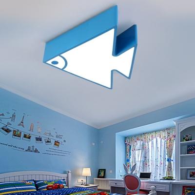 Multi Color Choice Ceiling Mount Light Cute Fish Shape Acrylic Flush Mount Light for Girl Boy Bedroom