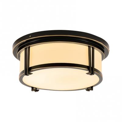 Office Drum Flush Mount Light Metal Elegant Style Brass/Black Ceiling Lamp in White/Warm