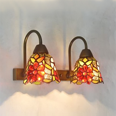 Rustic Style Flower/Fruit Sconce Light 2 Lights Stained Glass Wall Light for Bedroom Hotel