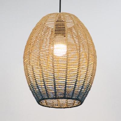 Tapered/Globe/Oval Hanging Pendant Light for Cafe Modern Rope 1 Light Drop Light in Blue