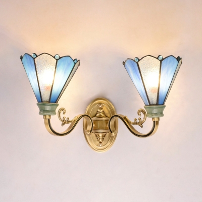 Tiffany Style Conical Sconce Light 2 Lights Glass Wall Light in Blue and White for Foyer