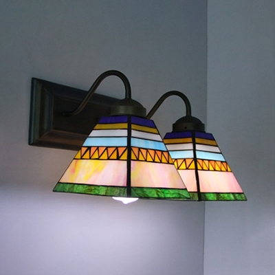 Tiffany Style Rustic Trapezoid Wall Light Stained Glass 2 Lights Sconce Light for Bedroom