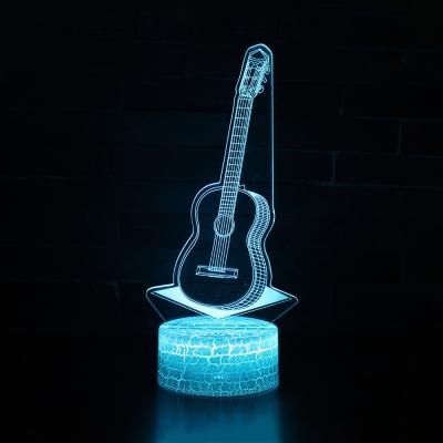 Touch Sensor 3D Night Light 7 Color Changing Guitar Pattern Design LED Bedside Lamp with Touch Sensor for Bedroom