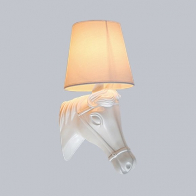 Traditional Sconce Light with Black/White Tapered Shade and Horse Decoration Single Light Resin and Fabric Wall Light for Hotel