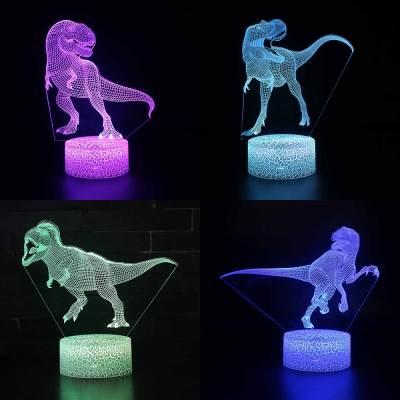 Velociraptor Pattern Led Night Light 7 Color Changing Touch Sensor