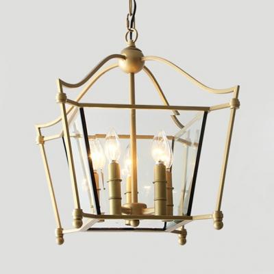 Vintage Style Candle Shape Chandelier Metal 5 Lights Gold Hanging Light for Living Room Dining Room