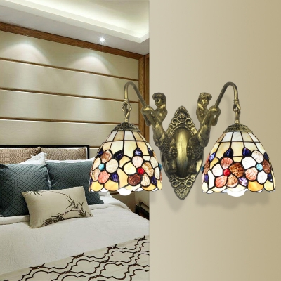 Vintage Style Flower Sconce Light 2 Lights Stained Glass Wall Lamp with Mermaid for Bedroom