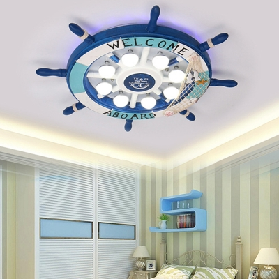 White/Colorful/Blue Ceiling Light Fixture Boy Girl Bedroom Stepless Dimming Creative Rudder Shape Flush Mount Light
