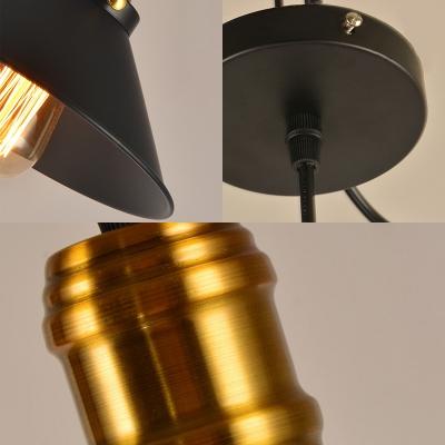 1/2/3 Pack Cone Pendant Lamp Metal 1 Light Vintage Hanging Light in Black for Bar Cafe