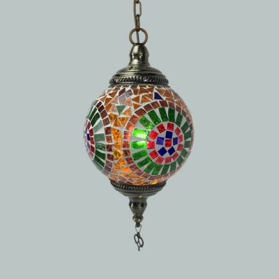 1/3 Pack Orb Bedroom Hanging Light Glass 1 Light Moroccan Pendant Lamp in Orange/Red/Yellow(Random Color Delivery)
