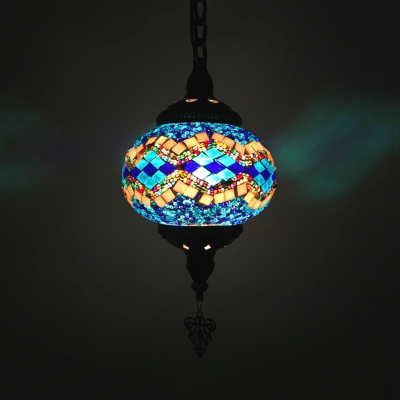 1/6 Pack Cafe Lantern Hanging Light Stained Glass 1 Light Mosaic Suspension Light(not Specified We will be Random Shipments)