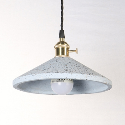 1 Head Conical Pendant Lamp Modern Stylish Cement Pendant Light in Black/Blue/Pink/White for Kitchen