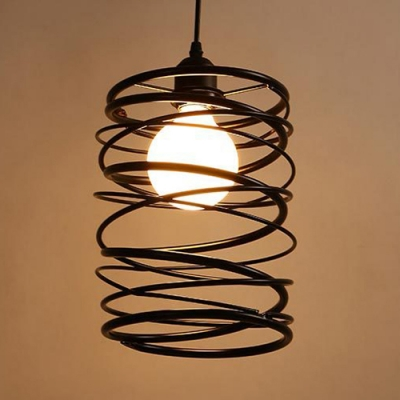 1 Head Swirl Shade Pendant Lamp American Rustic Metal Hanging Light in Black for Study Room