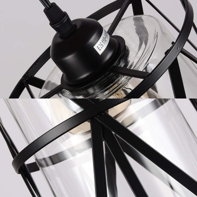 1 Light Cylinder Hanging Lamp with Cage Industrial Clear Glass/Flax Pendant Light with Plug-In Cord for Bar