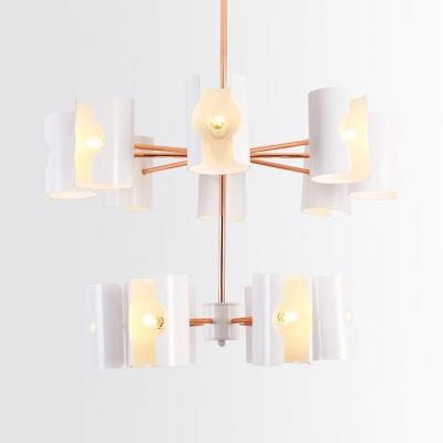 2-Tier 14/16 Lights Chandelier Nordic Style Metal Pendant Light in White for Living Room