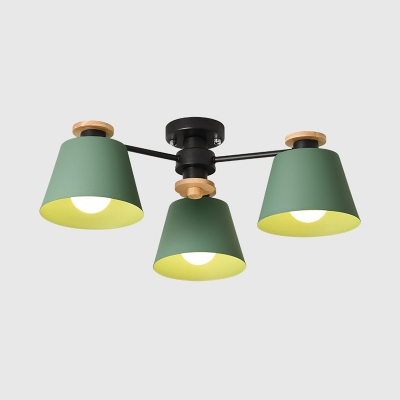 3 Lights Tapered Semi Flush Light Nordic Style Metal Ceiling Fixture in Green/Gray for Child Bedroom