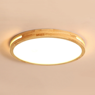 Beige Circle Led Flush Mount Light Asian Style Wood Acrylic Ceiling