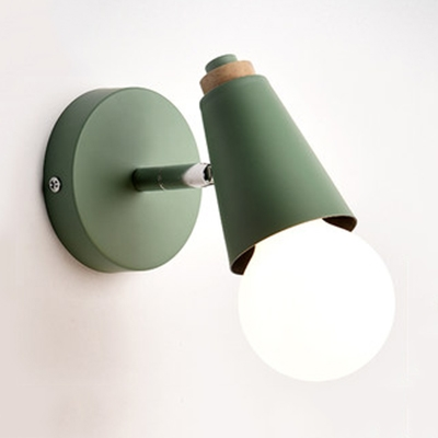 Modern Style Nodic Pink/Yellow/Blue/Green Finish Sigle Light Wall Sconce for Bedroom