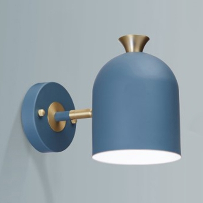 Macaron Style Dome Wall Light 1 Light Iron Wall Lamp in Blue/Green/Pink/Yellow for Child Bedroom