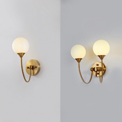 Stair Hallway Globe Wall Light Frosted Glass 1/2 Lights Modern Style Brass Finish Sconce Light