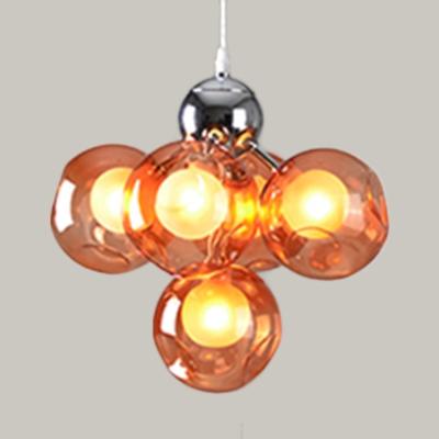 Orb Shade Cloth Shop Ceiling Pendant Blue/Green/Light Blue/Orange Glass 5 Lights Romantic Hanging Light