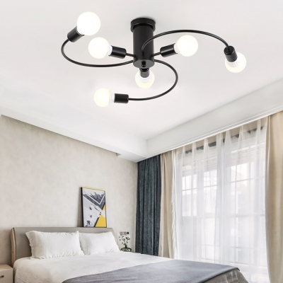Metal Twisted Arm Semi Flush Light Six Lights Contemporary LED Ceiling Fixture in Black/Gold for Study Room