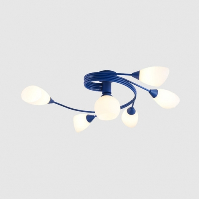 Macaron Stylish Bud Semi Flush Ceiling Light 4/6 Lights Opal Glass Ceiling Lamp in Blue/Pink for Bedroom