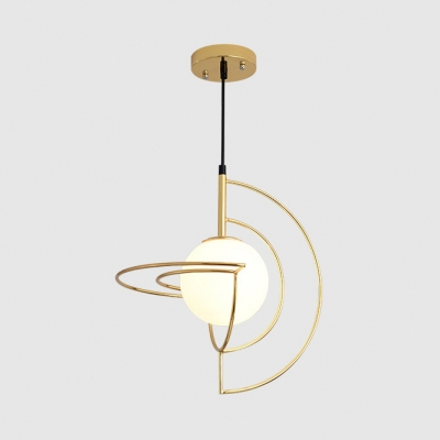 Frosted Glass Globe Pendant Light 1 Light Modern Stylish LED Ceiling Pendant in Gold for Study Room