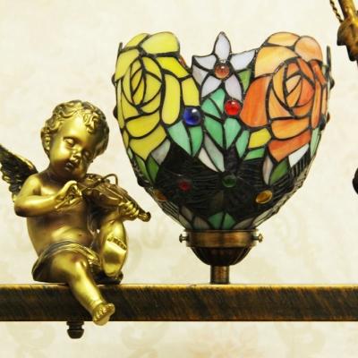 Aged Brass Angel Ceiling Light 1 Light Flower Shade Antique Style Glass Pendant Light for Balcony