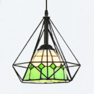 American Rustic Wire Frame Pendant Light 1 Head Stained Glass Hanging Light for Restaurant