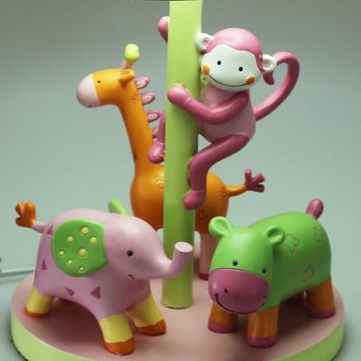 Animal Girl Bedroom Reading Light with Flower Wood 1 Light Cartoon Desk Light in Pink