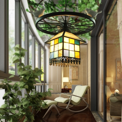 Antique House/Star Ceiling Light with Bird Wheel 1 Light Stained Glass Pendant Light for Shop