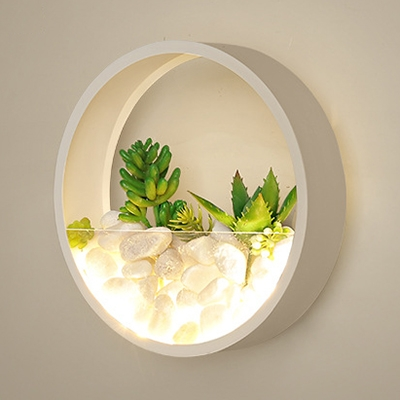 Big O Wall Light Plant Stone Decoration Metal Sconce Light in Black/White for Living Room