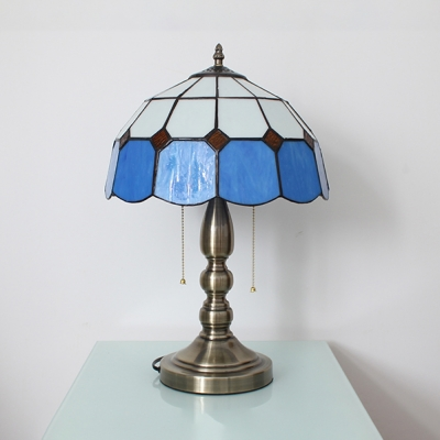 Blue Grid Bowl Desk Light Two Heads Tiffany Traditional Glass Table Light with Pull Chain for Restaurant