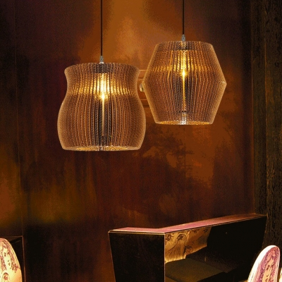 Corrugated Fiberboard Pendant Light Restaurant 1 Light Rustic Stylish Hanging Light in Beige