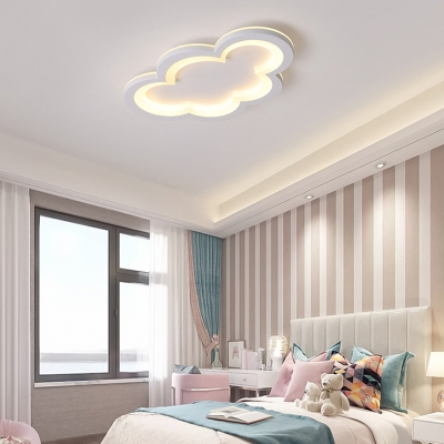 Cute Cloud LED Ceiling Mount Light Acrylic Gray/White Flush Light in Warm/White for Kindergarten