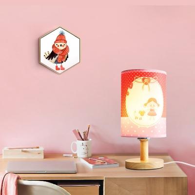 Cylinder Study Room LED Desk Lamp Fabric Wood Single Light Lovely Colorful Reading Light