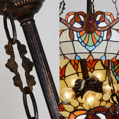 Dome Shade Hanging Light 5 Lights Tiffany Style Victorian Stained Glass Chandelier for Bedroom