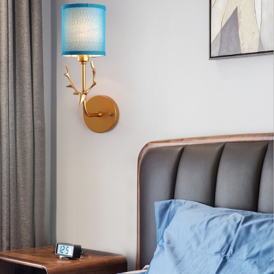 Euro Style Blue/White Wall Light Cylinder 1 Light Fabric Metal Sconce Light with Deer for Bedroom