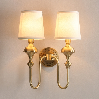 Fabric Tapered Shade Wall Sconce Light 1/2 Lights Vintage Style Sconce Lamp in Black/Brass
