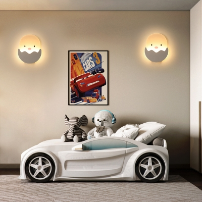 Girl Boy Bedroom Chick Wall Light Acrylic Lovely White Sconce Light in White/Warm