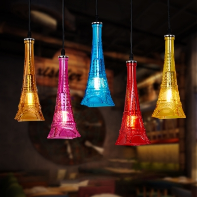 Glass Tower Shape Ceiling Pendant KTV Restaurant 1 Light Creative Hanging Lighting